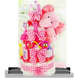 Pinkly Elephant Plush Precious Diaper Cake Gift Basket