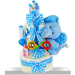 Dry Baby 3 Teir with Soft Elephant Plush Diaper Cake