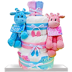 Three-Tiered Diaper Cake for Twins Babies