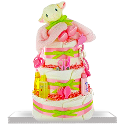 Lil Lamb's Sweet Diaper Cake for Baby Girls