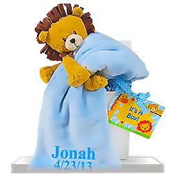 Lovable Lion Plush Personalized Baby Gift Set for Boy