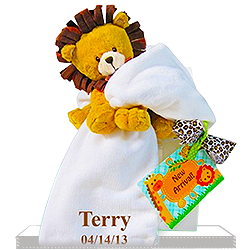 Lovable Lion Plush Personalized Baby Gift Set