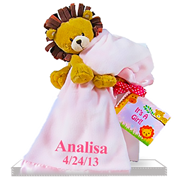 Lovable Lion Plush Personalized Baby Gift for Girls