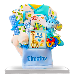 Newborn Baby Blue Giraffe's All-Boy Gift Basket