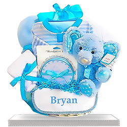 Blue Plush Elephant Minky Soft Gift Basket