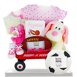 Send new baby gift baskets newborn baby baskets for boys and the girl mini wagon sport personalized gift basket negle Choice Image