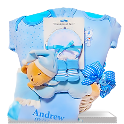 Personalized Bedtime Bear Gift Basket with Blanket  for Boy