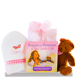 Personalized Teddy Bear for Baby Girl's Book of Prayers