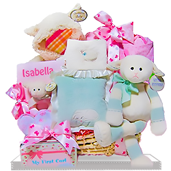 Little Lamb's Learning Persolized Girl Gift Basket with mini Wagon