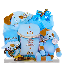 Personalized Puppy Blue and Brown Gift Basket