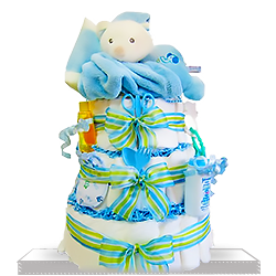 Blue Plush Bear Sleepy Stack Diaper Cake for Boys