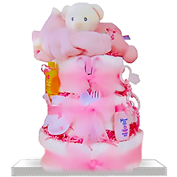 Pink Plush Bear Sleepy Stack Diaper Cake for Girls