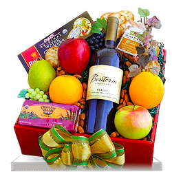 Delicious Organic Fruit and Wine Gift Box