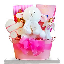 Naming Angels Baby Girl's Plush Lamb Christening Gift Basket