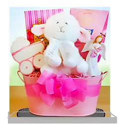 Naming Angels Baby Girl's Plush Lamb Christening Gift Basket
