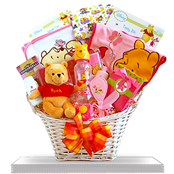 Winnie The Pooh's Gone Baby Girl Gift Basket