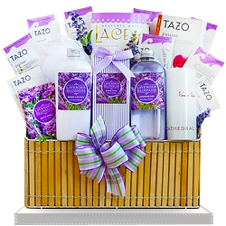 Creative Lavender Spa Gift Basket to send to USA