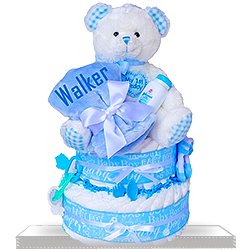 High quality Baby Boys First Teddy Two Tier Diaper Cake