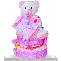 Baby Girl's First Teddy Two Tier Diaper Cake