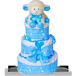Baby Plush Lamb Diaper Cake for Boy Gift Basket