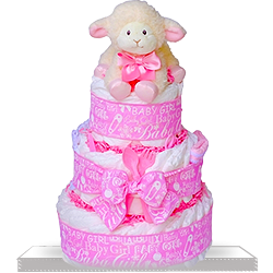 Baby Plush Lamb Diaper Cake for Girl Gift Basket