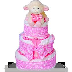 Baby Plush Lamb Diaper Cake for Girl Gift Basket