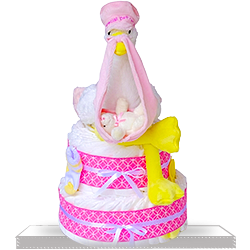 Two Tier Diaper Cake for Baby Girls Gift Basket