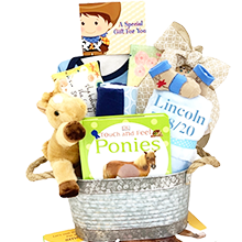 NewBorn Baby Boy Cowboy's Personalized Gift Basket
