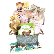 NewBorn Girl CowGirl Personalized Gift Basket